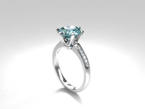 Aquamarine Solitaire Engagement Ring Made From 950 Platinum Diamond Blue