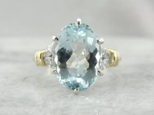 Exquisite High Quality Aquamarine in Vintage Cocktail Ring Setting