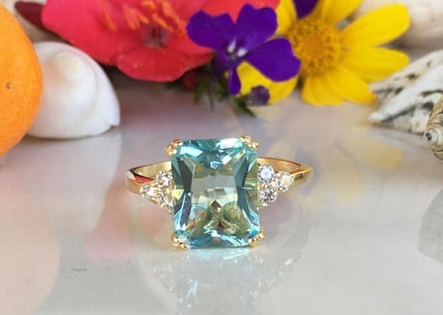 Aquamarine Ring Oval Natural Aquamarine Ring