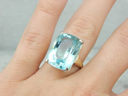 Our Finest Aquamarine Gemstone set in Vintage Cocktail Ring