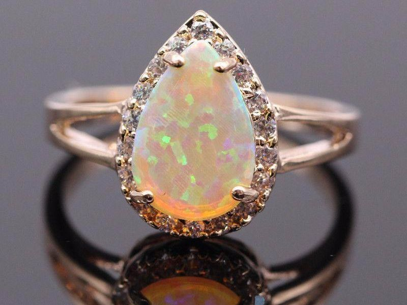 birthstone yellow claddagh ring gold engagement rings opal october natural