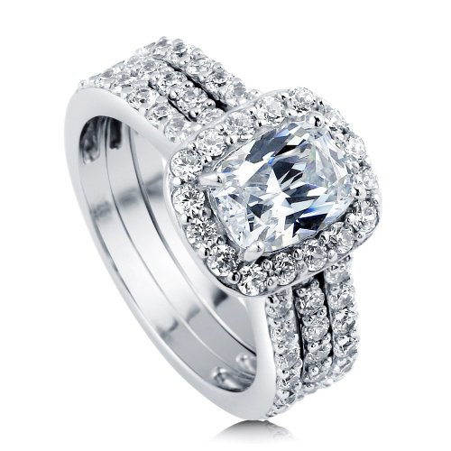 Berricle Sterling Silver 2.62 Ct.Tw Engagement Wedding Ring Set