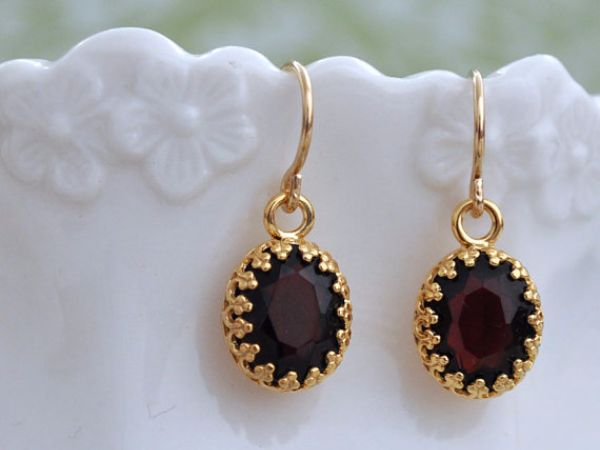 Birthstones Garnet Earrings