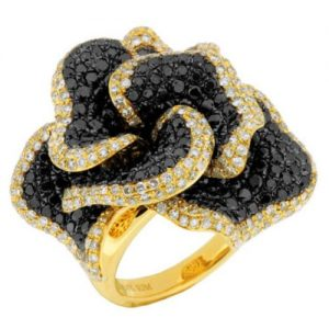 Black Diamond and Yellow Gold Ring