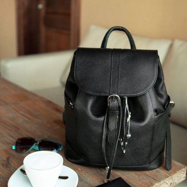 Black Leather Mini Backpack
