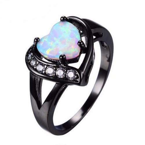 Black Opal Engagement Ring