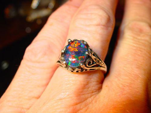 Black Opal Engagement Rings