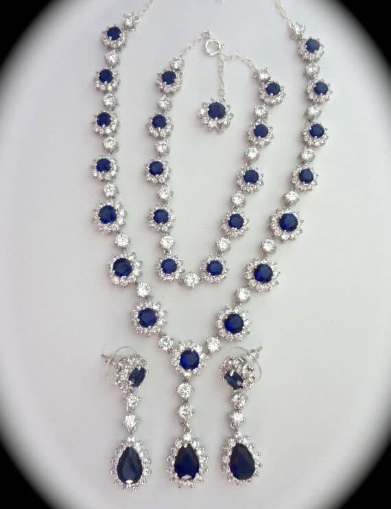 Blue Sapphire Jewellery Bridal Set