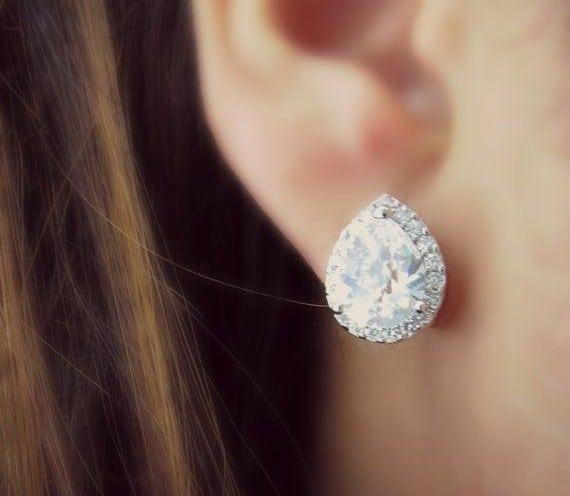 Bridal Earrings Teardrop Stud White Crystal