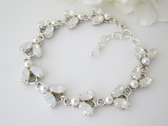 Bridal Jewelry Bracelet Clear White