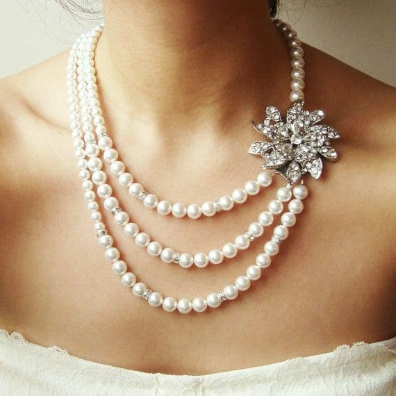 Bridal Pearl Necklace Vintage Wedding Jewelry
