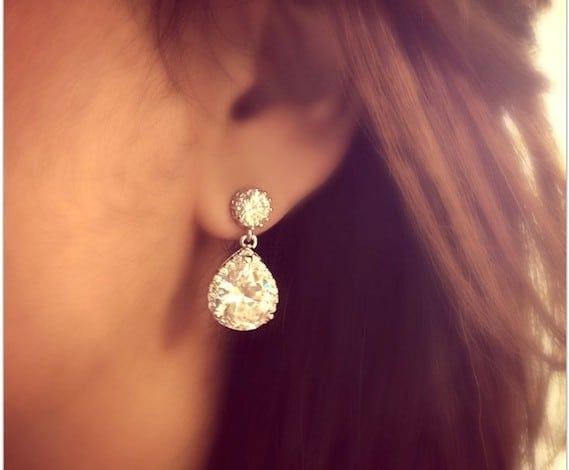 Bridal Teardrop Earrings with Sterling Silver Wedding Jewellery