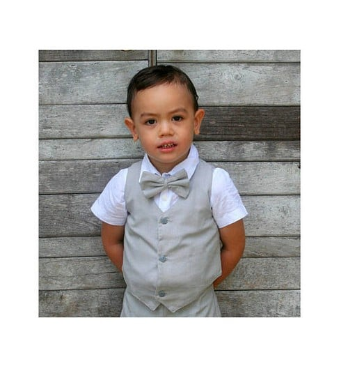 Chic Rustic Beige Vest For Ring Bearers Wedding Perfection