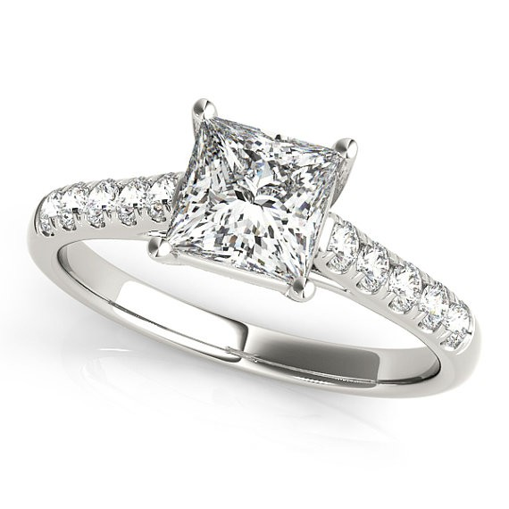 Diamond Princess Cut Engagement Ring With 14K White Gold