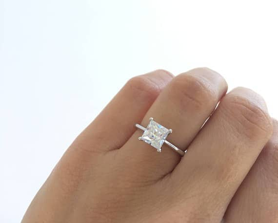 Diamond Princess Cut Engagement Ring