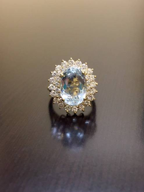 Yellow Gold Aquamarine Halo Diamond Engagement Ring - Art Deco 14K Gold Diamond Aquamarine Ring - Oval Aquamarine Diamond Wedding Ring