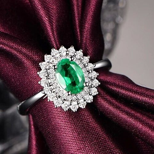 Emerald And White Gold Engagement Rings