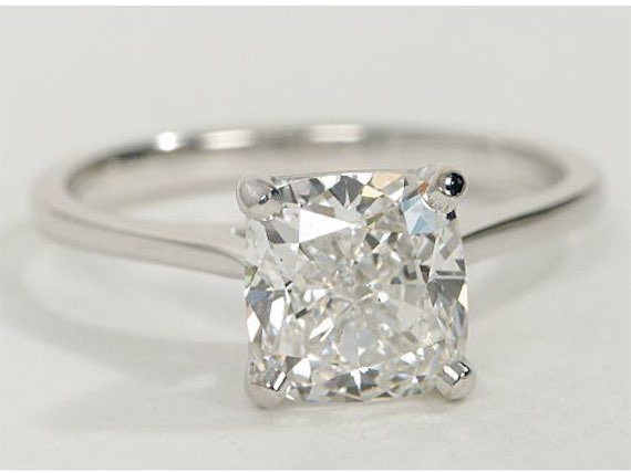 Engagement Ring in 14k White Gold with 2.05k Princess Cut Diamond