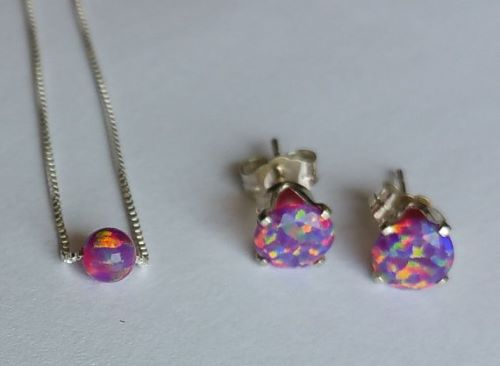 Fire Opal Earrings And Necklace Set