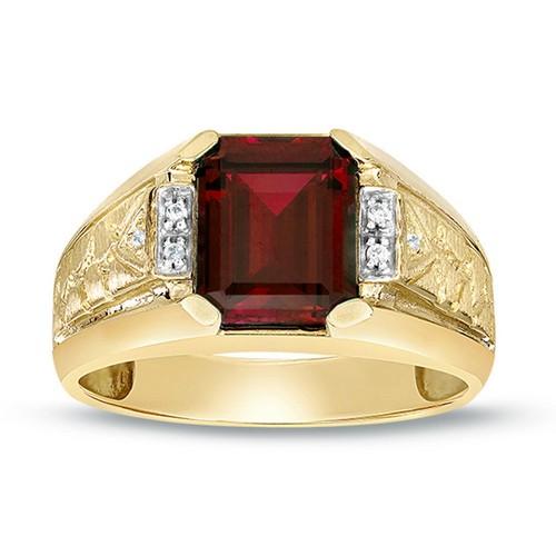 Garnet Rings Yellow Gold