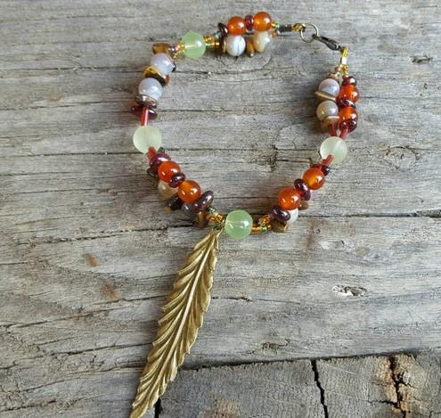 Gemstone Leaf Charm Bracelet