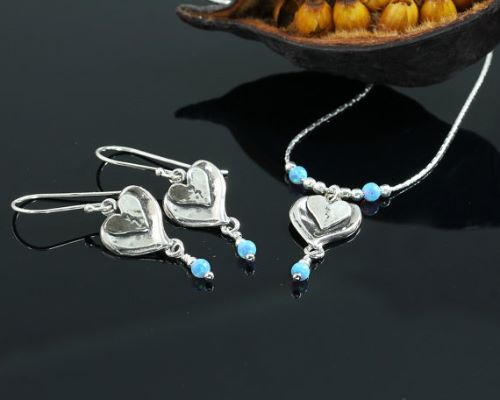 Genuine Opal Earrings And Necklace Set