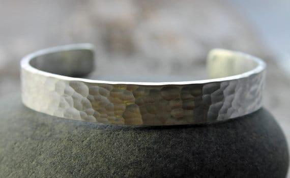 Hammered Silver Bracelets For Men