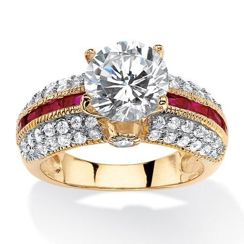 International Fashions Round White Cubic Zirconia Engagement Ring