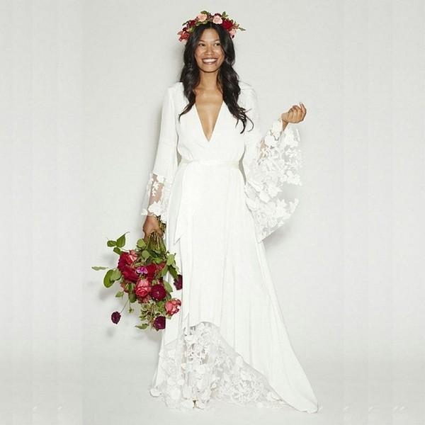 Lace Simple Boho Wedding Dress