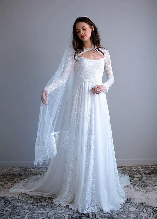 Long Sleeve Bohemian Wedding Dress