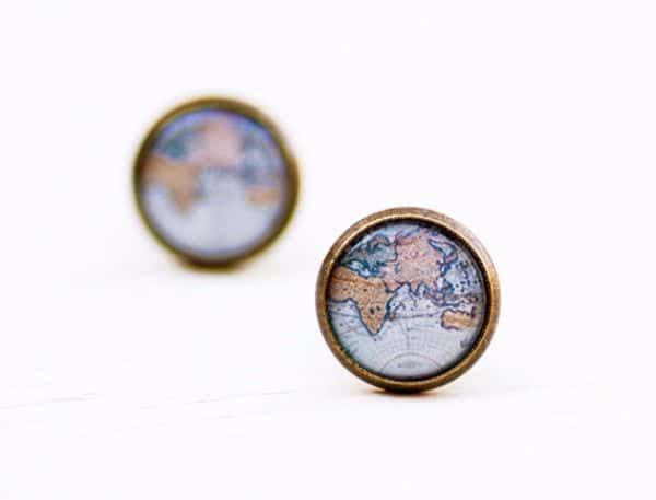 Map Earrings Jewelry fo Wanderlusters