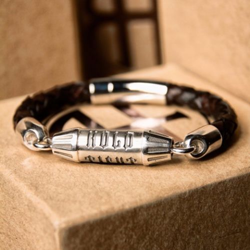 Mens Leather And Silver Bracelets