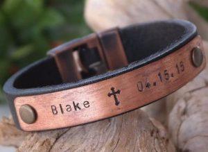 Mens Leather Id Bracelets