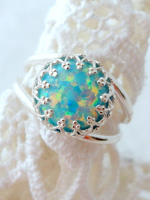 Mint Opal Engagement Rings