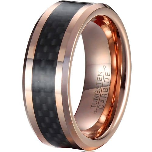 Mnh Mens 8Mm Tungsten Carbide Wedding Rose Gold Plated