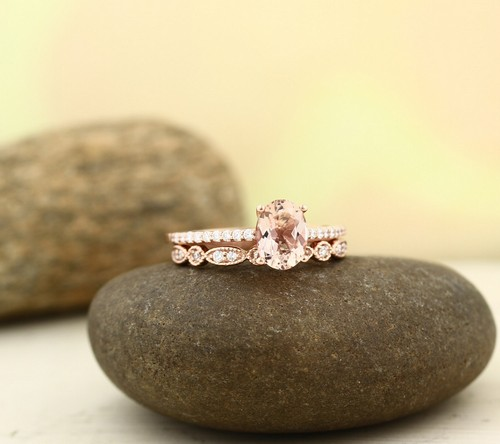 Morganite Engagement Ring Set