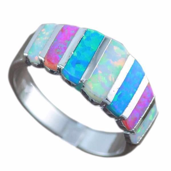Multicolored Opal Silver Ring