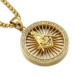 Freemasonry Wheel Crystal Charm Necklaces