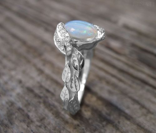 Opal And Diamond Engagement Rings