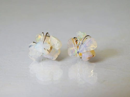 Opal Clip On Earrings