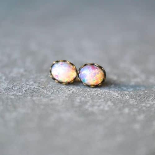 Opal Clip On Earrings