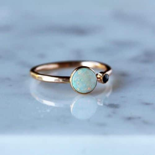 Opal Engagement Rings With Black Diamond