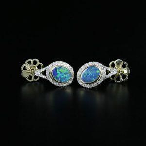 Opal Stud Earrings White Gold