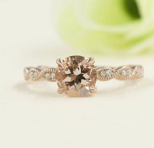 Peach Morganite Engagement Ring