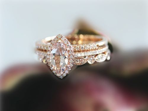 Pink Oval Cut Morganite Engagement Ring