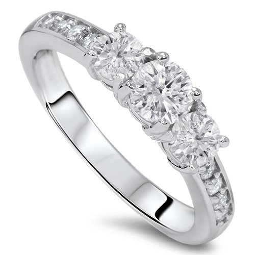 Pompeii3 Inc. 1 Cttw Diamond 3 Three Stone Engagement Ring