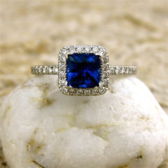 Princess Cut 1.08k Blue Sapphire Platinum Engagement Ring with Diamonds