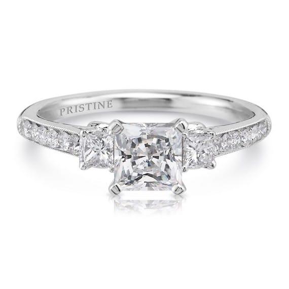 Princess Cut 18K White Gold Ring