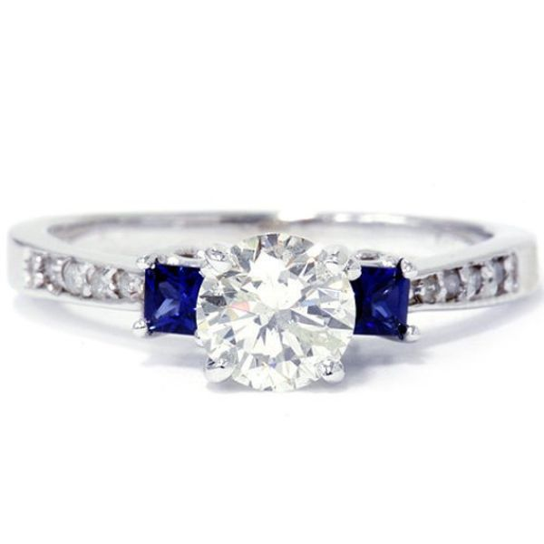 Princess Cut Blue Sapphire Diamond Ring