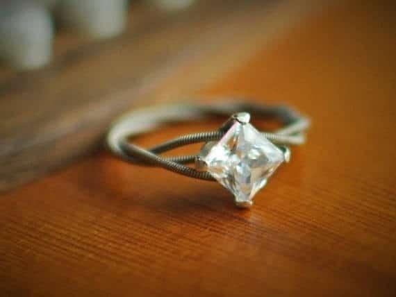Princess Cut Diamond On White Gold